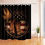 hole in one american pie - HiSoho Western Hat Decor, American Flag with Cowboy Boots Rope, Polyester Fabric Waterproof Shower Curtains, 71X71 in, Shower Curtain Hooks Included