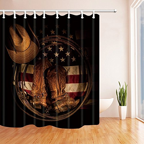 HiSoho Western Hat Decor, American Flag with Cowboy Boots Rope, Polyester Fabric Waterproof Shower Curtains, 71X71 in, Shower Curtain Hooks Included Cowboy Boot Wall Hook