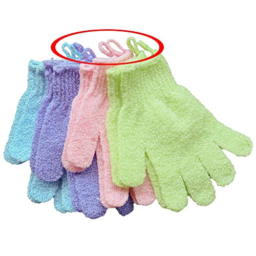 SmitCo LLC Exfoliating Gloves - 4 Pairs Full Body Scrub - Shower or Bath Spa Exfoliation Accessories For Men and Women - Scrubs Away Dead Cells For Soft Skin and Improves Blood Circulation by SMITCO (Image #2)