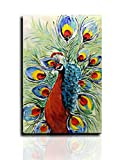 hotel artwork - Desihum-Modern Abstract Oil Painting Green And Red Peacock In Plume 3D Hand-Painted Wall Art On Canvas For Livingroom Hotel Abstract Artwork Art Wood Inside Framed Picture For Wall Decoration(24