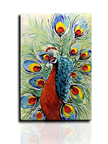 Desihum-Modern Abstract Oil Painting Green And Red Peacock In Plume 3D Hand-Painted Wall Art On Canvas For Livingroom Hotel Abstract Artwork Art Wood Inside Framed Picture For Wall Decoration(24