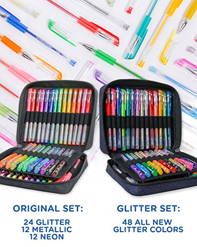 ColorIt 96 Gel Pens For Adult Coloring Books - 2 Travel Case Gel Pen Sets with 72 Glitter, 12 Metallic, 12 Neon Plus 96 Matching Colored Gel Ink Refills by ColorIt (Image #1)