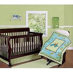 Step By Step 3 Piece Nursery Set (Comforter, Crib Sheet, Dust Ruffle) (Green) (Yellow) (Blue) Unisex
