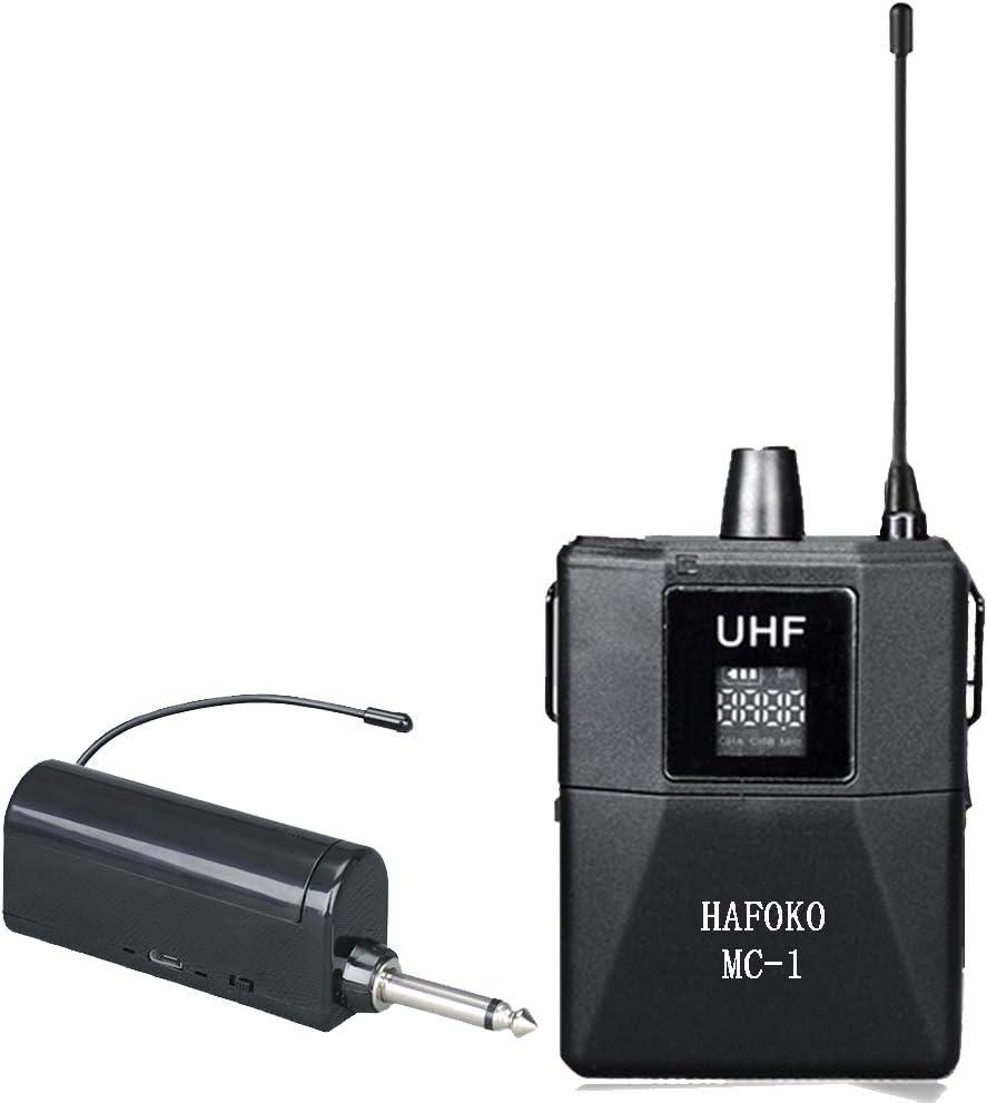 HAFOKO MC-1 48 Canales UHF Sistema de Micrófono Inalámbrico Profesional Lavalier Compatible para Canon Nikon Sony Panasonic DSLR/Smartphone/Videocámara en Video,Alojamiento de Programas y Entrevista