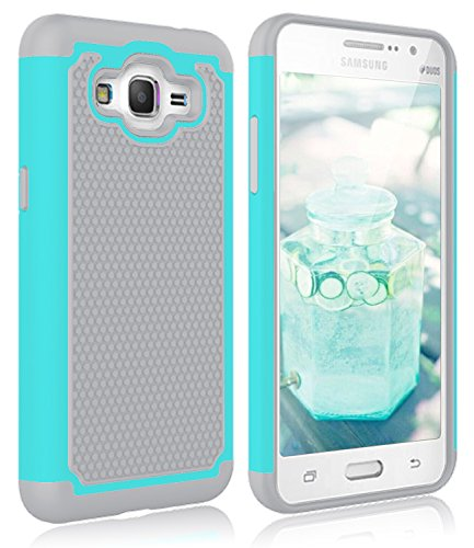 Grand Prime Case, Galaxy G530 Case, Zectoo Heavy Duty Shock Absorbing Durable Full Body Protection Rugged Defender Hybrid Case Dual Layer Combo Case for Samsung Go Prime G530H / G5308W - Turquoise