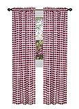 GoodGram Buffalo Check Plaid Gingham Custom Fit Window Curtain Treatments Assorted Colors, Styles & Sizes (Single 63 in. Panel, Burgundy)