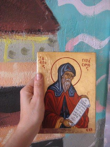 St Gerasimos of Cephalonia hand-painted orthodox icon greek religious art