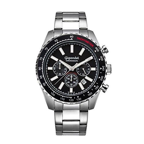 Gigandet Chrono King Men's Quartz Watch Chronograph Analog Silver Black G28-001