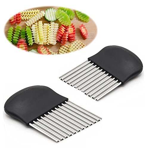 Crinkle Cutter and French Fry Slicer By Guardians Salad Chopping Knife and Vegetable Steel Blade Cutting Tool ,Set of 2