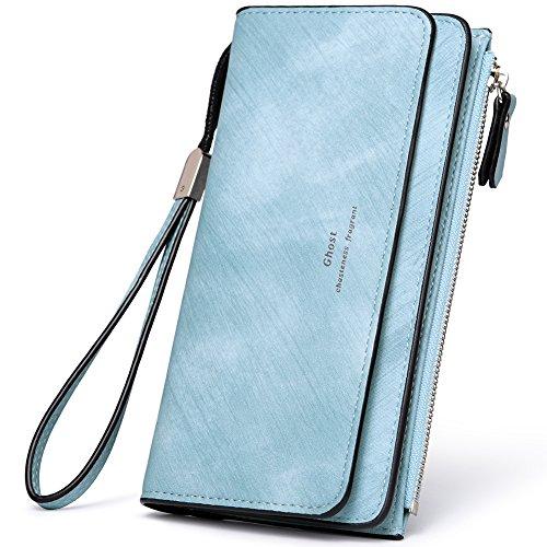 et PU Leather Clutch Purse Bifold Ladies Checkbook Multi Card Holder Organizer with Zipper Pocket blue ()