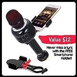 Wireless Bluetooth Karaoke Microphone – Portable KTV Karaoke Machine with Speaker + FREE USB Disco Ball Light & Phone Holder Perfect for Pop, Rock n Roll Parties, Solo Parties & More (E106 2.0Black)