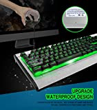 OJA All Metal Patent Wired Gaming Keyboard Handcraft Waterproof, Rainbow 7 Colors LED RGB Adjustable Backlit, 104 Key Anti-ghosting &Multimedia Key with Voice Control Breathing Light for PC & Laptop