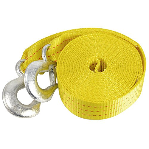 """Neiko 51005A Heavy Duty Tow Strap with Safety Hooks   2"""" x 20'   10,000 LB Capacity   Polyester"""