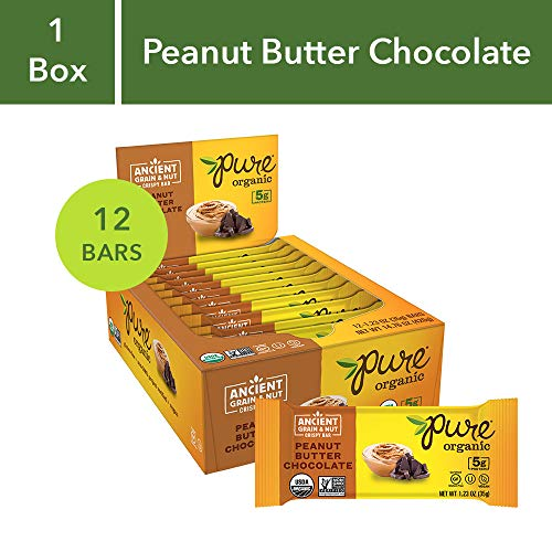 Pure Organic Peanut Butter Chocolate, Ancient Grain and Nut Crispy Bar,  Gluten-Free, Certified Organic, Non-GMO, Vegan,  Kosher, Plant Based Whole Food Nutrition Bar, 1.23 ounce (Pack of 12)