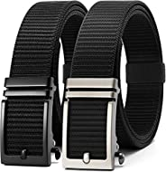 Longwu 2020 New Nylon Ratchet Belts with Automatic Slide Buckle, No Holes Fully Adjustable Web Belt-For Men Je