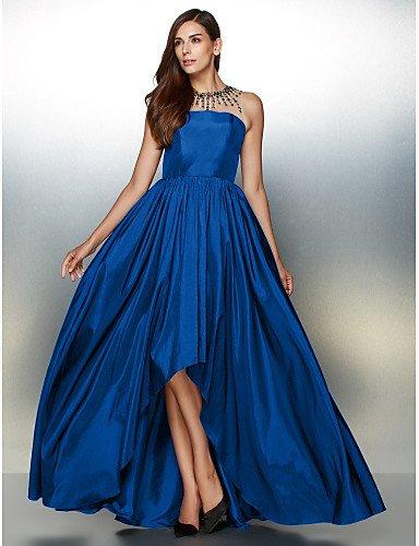 Una Vestido Con De Tafetán Noche HY De Prom Asimétrica Formal Crystal amp;OB Royal Blue Joya Línea De Cuello Detallando vRtq5w6x