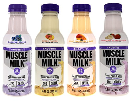 Muscle Milk Smoothie Bundle of Twelve Assorted 16 Oz Bottles: 3 each of Blueberry, Mango Tangerine, Peach and Strawberry Banana