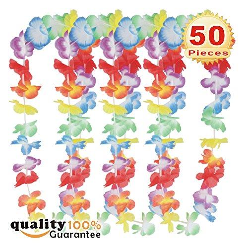 PMLAND 50 pcs Tropical Hawaiian Luau Lei Styles Necklace -