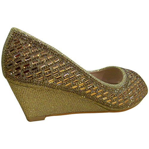 Zapatillas De Cuña De Diamantes De Imitación Brillantes Bella Marie Para Mujer Keira-2 Con Punta Abierta