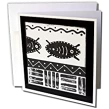 3dRose Andrea Haase Graphic Art - Black and White African Ethnic Pattern - 1 Greeting Card with envelope (gc_268511_5)