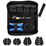 Amzdeal Crimping Tool Kit Ratchet Terminal Crimper Tool 20-2 AWG 5 Interchangeable Die