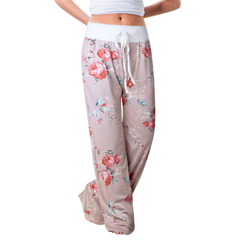MISSMAO Women Floral Prints Drawstring Waist Wide Leg Flowy Pants Loose Yoga Trousers Ladies Casual Summer Sports Workout Gym Fitness Exercise Skinny Girls Baggy Lounge Pants