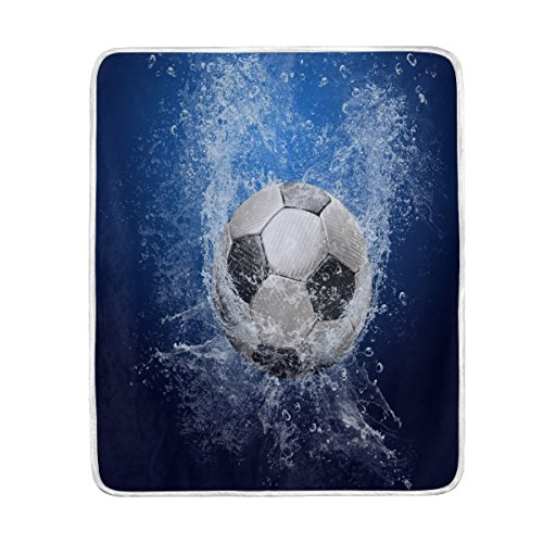 ALAZA Home Decor Water Drops Around Soccer Ball Blanket Soft Warm Blankets for Bed Couch Sofa Lightweight Travelling Camping 60 x 50 Inch Throw Size for Kids Boys Women by ALAZA