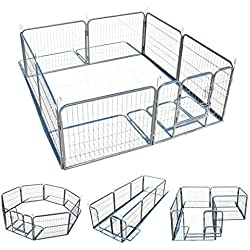 "24"" 8 Panel Heavy Duty Cage Barrier Pet Dog Cat Fence Puppy Metal Play Pen Kennel"