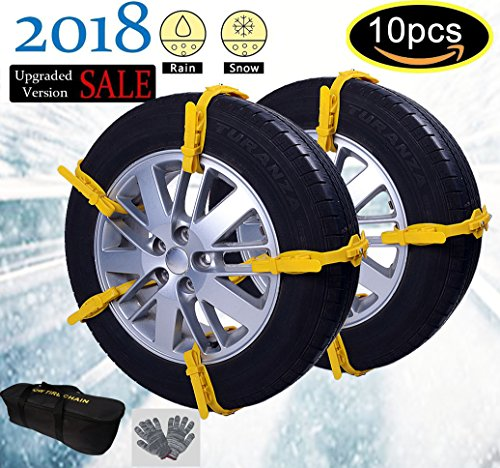 Car Snow Chains Snow Tire Chains Anti-slip Tire Chains for All Cars SUV Trucks Anti-skid Car Chains Snow Chains Car Winter Chains SUV for Universal Size Fit Automobiles Rim 13''-22'' (Rims Truck 22')
