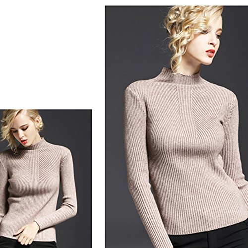 Hrph Fashion New Sweater Women Bottom Slim Hedging Long Sleeve Collar Half Turtleneck Pullovers Tops Caqui