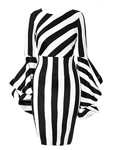 Stripe Silk Skirt (Women's Elegant Flared, Long-Sleeved Skirts Have a Soft, Supple Texture and a Thin Black and White Stripe)