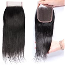 "Straight Free Part Closure 4""X4""Lace Closure Brazilian Virgin Human Hair Natural Color 10 Inch"