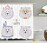 kids bathroom ideas Ambesonne Cartoon Shower Curtain by, Kids Boys Girls Room Bear in Styles with Sketchy Hand Drawn Image Art, Fabric Bathroom Decor Set with Hooks, 84 Inches Extra Long, Dark Blue and White