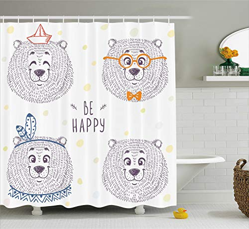 Ambesonne Cartoon Shower Curtain by, Kids Boys Girls Room Bear in Styles with Sketchy Hand Drawn Image Art, Fabric Bathroom Decor Set with Hooks, 84 Inches Extra Long, Dark Blue and White
