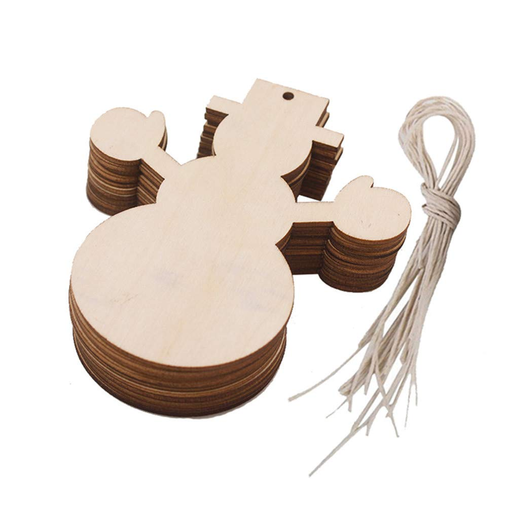 Christmas Wood Pendant Hanging,Lovewe 10pcs Wooden Pendant Christmas Decorations Children's Home Decoration Gifts (D)