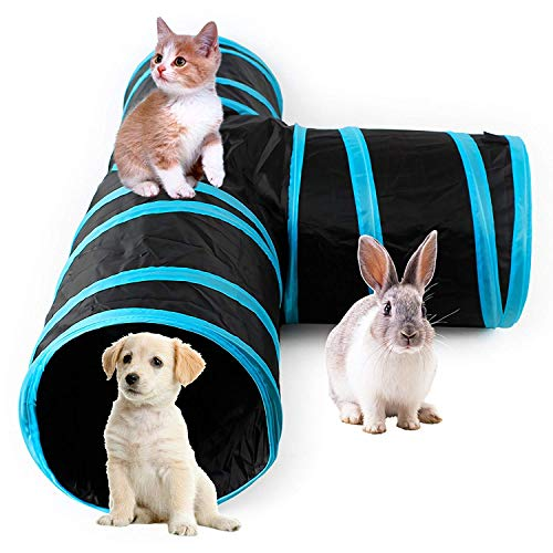 (AikoPets Collapsible 3 Way Cat Tube Kitty Tunnel Bored Cat Pet Toys Peek Hole Toy Ball Cat, Puppy, Kitty, Kitten, Rabbit (Blue))