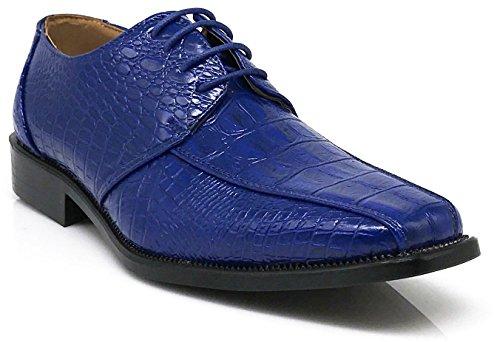 Mens Alligator Shoes (Gator Men's Alligator Crocodile Print Oxfords Fashion Dress Shoes (12, Royal Blue))