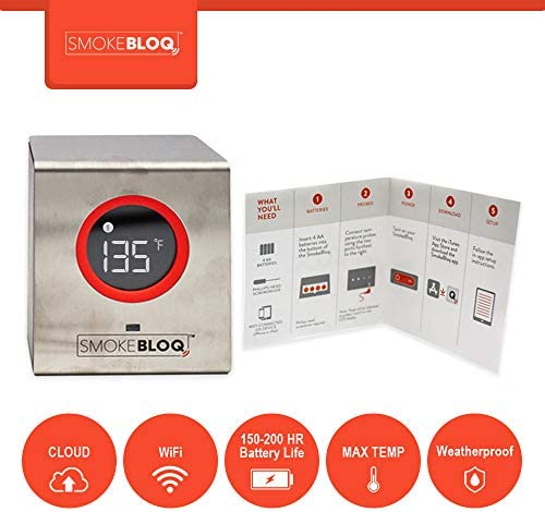 SmokeBloq Wi-Fi Digital Meat Thermometer for iPhone/Android. Weatherproof Grill & Smoker Monitoring. Unlimited Range, 2 Temperature Probes