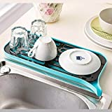 Copter Shop Multifunctional Double Layer Kitchen Drain Shelf Sink Draining Rack Tray Dish Bowl Storage Holder Vegetable Fruits Draing Board ( blue )