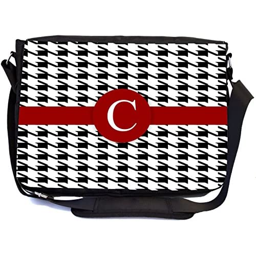 "Rikki Knight Letter ""C"" Burgundy Houndstooth Monogram Design, Messenger School Bag (mbcp-cond46264)"