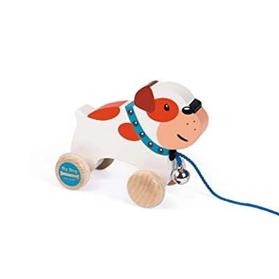 Janod My Dog Wooden Pull Along Bulldog Early Learning and Motor Skills Toy Made of Cherry Wood for Ages 12 Months+: Toys & Games