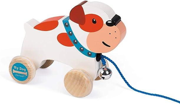 Janod My Dog Wooden Pull Along Bulldog Juratoys US Corp J08216