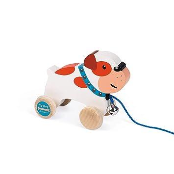 Janod - Bulldog My Dog Perrito de madera para Pasear (J08216)