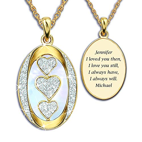 "The Danbury Mint Diamond ""I Love You"" Personalized Pendant Necklace – Personalized Pendant – Romantic Jewelry Gifts from The Danbury Mint"