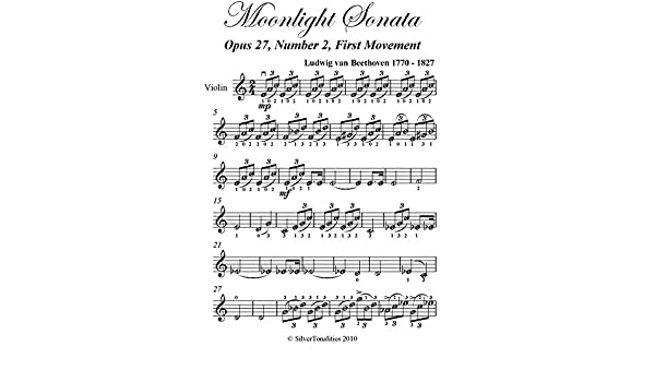 Amazon com: Moonlight Sonata First Movement Beethoven Easy