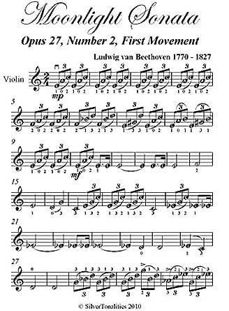Moonlight Sonata First Movement Beethoven Easy Violin