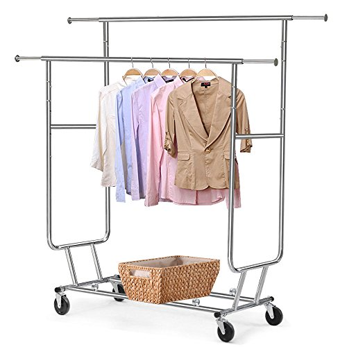 Heavy Duty Grade Collapsible Clothing Rolling Double Garment Rack Hanger Holder (Pottery Barn Double Rod)