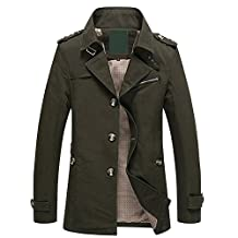 Men's Fall Casual Stand Collar Jacket with Button Zipper Trench Jacket