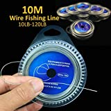 giveyoulucky 10M 7 Strands Braid 10LB-120LB Stainless Steel Wire Super Strong Fishing Line - 50 lbs