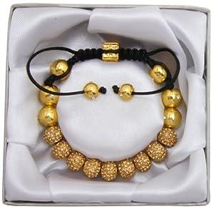 Lova Jewelry Lux Spiritual Sparkle Adjustable Shamballa Gold Crystal Pave Bracelet
